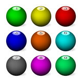 Nine billiard balls Royalty Free Stock Photography