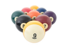 Nine billiard balls Stock Photos