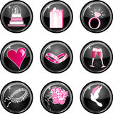 Nine black glossy wedding web icons. Royalty Free Stock Image