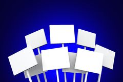 Nine blank notice boards Stock Image