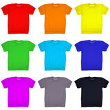 Nine blank t-shirt isolated on white. (Clipping path) Royalty Free Stock Photography
