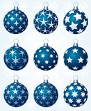 Nine blue balls Stock Photography