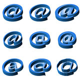 Nine blue icons e-mail Stock Image