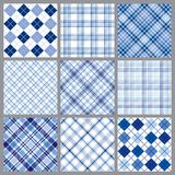 Nine Blue Plaids. An illustration of a set of nine blue plaid patterns Royalty Free Stock Images