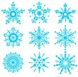 Nine blue snowflakes Royalty Free Stock Photo