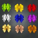 Nine bows in different color stock illustration