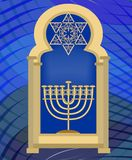 Nine branched candle holder and David star in synagogue window.  Royalty Free Stock Image