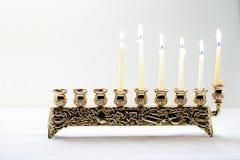 Nine-branched mehorah Hanukiah. The Symbols of Hanukkah - nine-branched mehorah Hanukiah Stock Photos