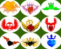 Nine Brand New Crown Hearts on the Wings. Vector Illustration. No Meshes Stock Images