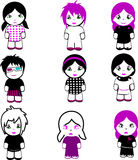 Nine Brand New Emo Dolls. More Emo in my portfolio Royalty Free Stock Images