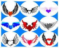 Nine Brand New Hearts on the Wings. Vector Illustration Stock Image