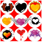 Nine Brand New Hearts, Wings and Fire. Vector Illustration Royalty Free Stock Image