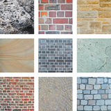Nine bricks and building walls Royalty Free Stock Photo