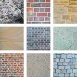 Nine bricks and building walls Royalty Free Stock Photo