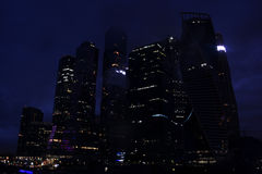 Nine buildings of the Moscow business center at night Royalty Free Stock Photography