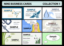 Nine business cards collection 1 Royalty Free Stock Photo