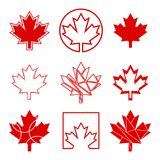 Nine Canadian Maple Leaf Icons Royalty Free Stock Photography