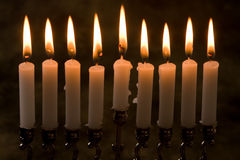 Nine candles. Nince candles in a jewish hanukkah candle-holder Stock Images