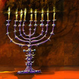 A nine candlestick. Digital painting of religious object, printable file Stock Images