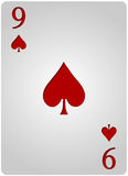 Nine card spades poker. Vector nine spades card poker with red letters and white card for casino poker Stock Images