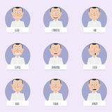 Nine cartoon emotions faces for vector characters. Royalty Free Stock Photos
