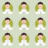 Nine cartoon emotions faces for vector characters. Royalty Free Stock Photography