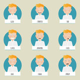 Nine cartoon emotions faces for vector characters. Stock Image