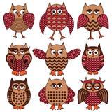 Nine cartoon funny owls Stock Image
