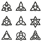 Nine Celtic Triangle Knots Stock Image