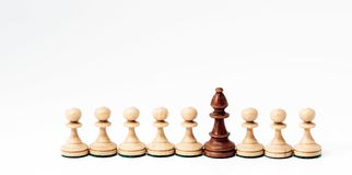 Chess pieces in concept of competition or diversity. stock images