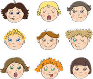 Nine childrens faces with different moods. Make faces; yawn; crying; dreaming; smile; at wink; scream; put out ones tongue; indifference Stock Photography