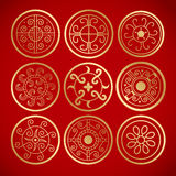 Nine chinese vintage round symbols. Royalty Free Stock Image