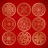 Nine Chinese vintage round symbols Stock Images