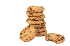 Nine Chocolate Chip Cookies Isolated On A White Ba Royalty Free Stock Images