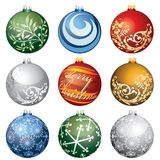 Nine christmas balls Stock Photo