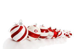 Nine Christmas Baubles Stock Photography