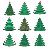 Nine Christmas color trees on white set 1 Royalty Free Stock Images