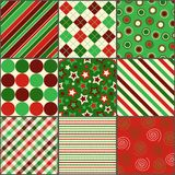 Nine Christmas Colored Patterns. Set of nine background patterns in Christmas colors Royalty Free Stock Image