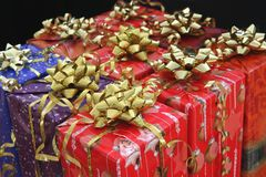 Nine christmas packages with stars Royalty Free Stock Images