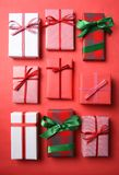 Nine Christmas Presents Wrapped in Different Paper. Royalty Free Stock Photo
