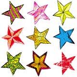 Nine christmas star ,. Nine hand draw  christmas star ,  illustration Royalty Free Stock Images