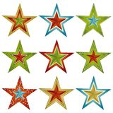 Nine christmas star , vector Stock Photos