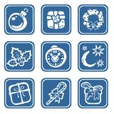 Nine christmas symbols Stock Images