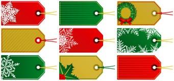 Nine Christmas Tags. Nine Red Green and Gold Christmas Tags Royalty Free Illustration