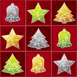 Nine  christmas toy, vector. Nine  christmas toy over red background, vector Stock Photos
