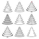 Nine Christmas trees set black on white Stock Photo