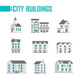 Nine city buildings set of icons - vector illustration. On white background. A church, double, three-storey houses with facades, balconies, cafes or shops on Stock Photography