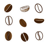 Nine coffee beans in different styles Stock Photo