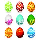 Nine color easter eggs on white background Stock Photo
