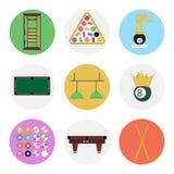 Nine color flat billiards icon set Stock Images